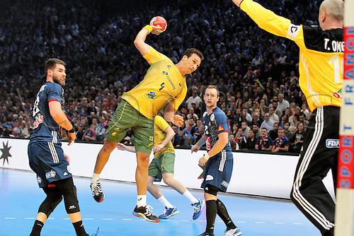 11.01.2017. Accor Arena, Paris, France. 25th World Handball Championships France versus Brazil. Luca Karabatic France and Joao Pedro Silva Brazil in action