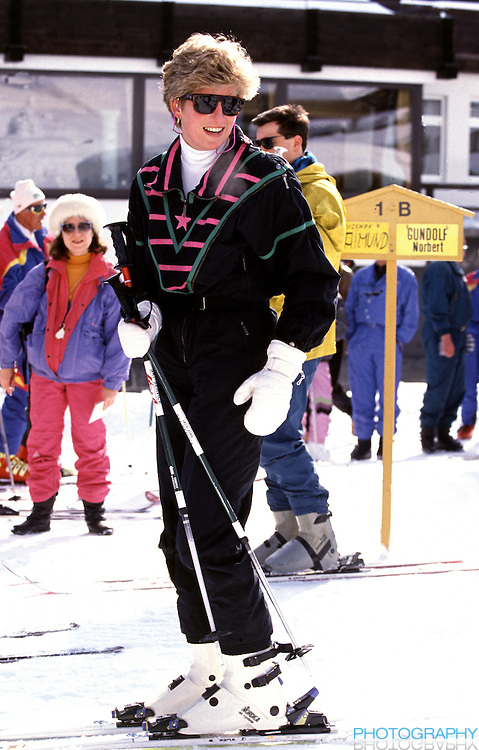 Diana,The Princess of Wales, sking in Lech, Austria, during an annual ski holiday with her sons, Prince William, and Prince Harry
