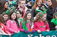 St Patricks Day parade High Street Digbeth.Dance school kids on the parade near 'Lope's Tower'
