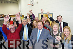 Thomas McEllistrim celebrates with his supporters pictured at the local elections at John Mitchels on Sunday.