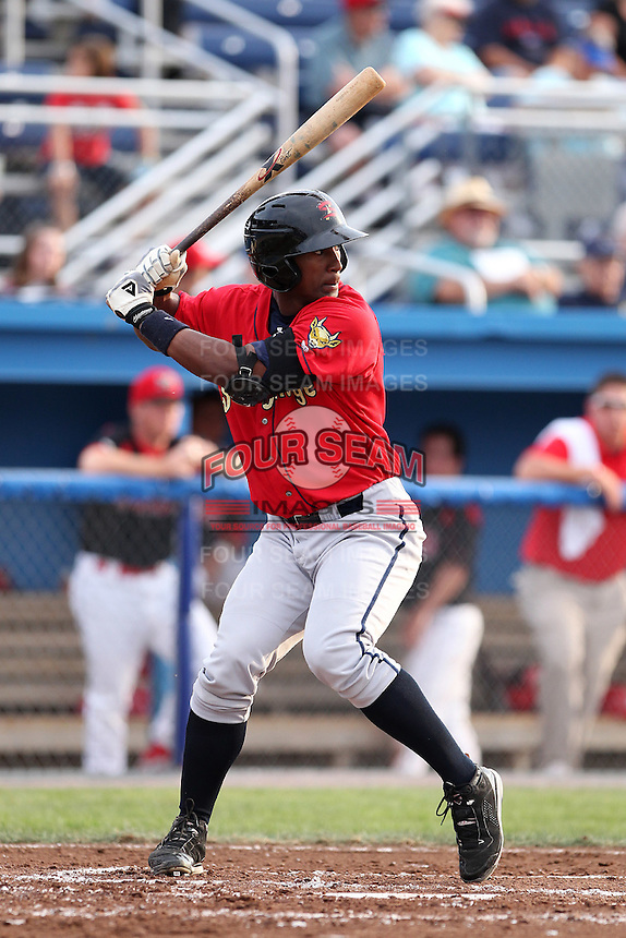 State College Spikes outfielder Carlos Mesa #41 during a game against the Batavia Muckdogs at Dwyer Stadium on July 7, 2011 in Batavia, New York.  Batavia defeated State College 16-3.  (Mike Janes/Four Seam Images)