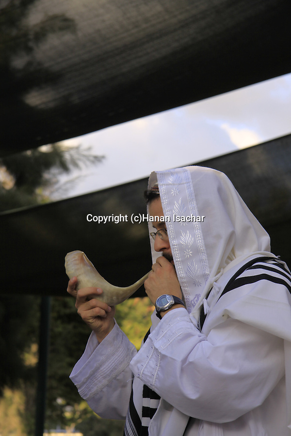 Israel, Tel Aviv, Blowing the Shofar on Rosh Hashanah