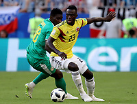 SAMARA - RUSIA, 28-06-2018: Ismaila SARR (Izq) jugador de Senegal disputa el balón con Davinson SANCHEZ (Der) jugador de Colombia durante partido de la primera fase, Grupo H, por la Copa Mundial de la FIFA Rusia 2018 jugado en el estadio Samara Arena en Samara, Rusia. / Ismaila SARR (L) player of Senegal fights the ball with Davinson SANCHEZ (R) player of Colombia during match of the first phase, Group H, for the FIFA World Cup Russia 2018 played at Samara Arena stadium in Samara, Russia. Photo: VizzorImage / Julian Medina / Cont
