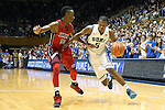 02 November 2013: Duke's Rodney Hood (5) and Drury's DaShaun Stark (50). The Duke University Blue Devils played the Drury University Panthers in a men's college basketball exhibition game at Cameron Indoor Stadium in Durham, North Carolina. Duke won the game 81-65.