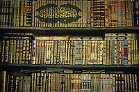 Arab manuscripts in a bookstore in Damascus, Syria.