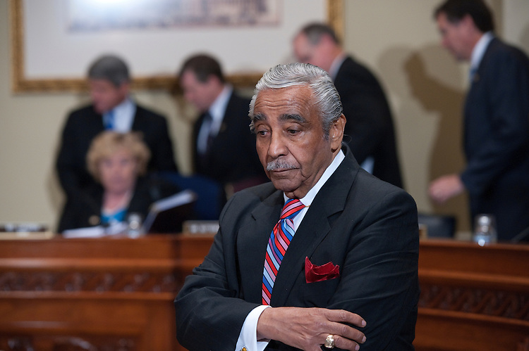 UNITED STATES - NOV 15: Charlie Rangel (D-NY) turns his back on committee members as they enter the room during the House of Representatives ethics committee hearing in the Longworth House Office Building November 15, 2010 in Washington, DC. The House Committee on Standards of Official Conduct is holding the public hearing, where Rangel faces 13 allegations that his fund-raising and personal finances violated Congressional rules. (Photo By Douglas Graham/Roll Call)