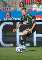 Seattle Sounders FC defender Tyson Wahl #5 in action during an MLS game between the Seattle Sounders FC and the Toronto FC at BMO Field in Toronto on June 18, 2011..The Seattle Sounders FC won 1-0.
