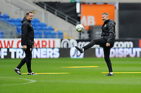 Ryan Giggs (right)  Manager of Wales in action during the Wales Training Session at the Cardiff City Stadium in Cardiff, Wales, UK. Thursday 15 November 2018
