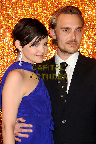 GINNIFER GOODWIN & JOEY KERN.HBO's 2010 67th Golden Globe Awards Post Party held at the Beverly Hilton Hotel, Beverly Hills, California, USA. .January 17th, 2009 .globes half length purple blue dress suit couple black stubble facial hair silver dangling earrings.CAP/ADM/BP.©Byron Purvis/Admedia/Capital Pictures