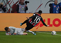 Mitchell Weiser (Bayer Leverkusen) foult Filip Kostic (Eintracht Frankfurt) - 18.10.2019: Eintracht Frankfurt vs. Bayer 04 Leverkusen, Commerzbank Arena, <br /> DISCLAIMER: DFL regulations prohibit any use of photographs as image sequences and/or quasi-video.