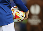 A Player holds the Europa League ball - UEFA Europa League Round of 32 Second Leg - Everton vs Young Boys - Goodison Park Stadium - Liverpool - England - 26th February 2015 - Picture Simon Bellis/Sportimage