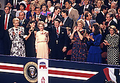 United States President Ronald Reagan and first lady Nancy Reagan wave to the crowd from the Presidential Box of the 1988 Republican Convention at the Super Dome in New Orleans, Louisiana on August 15, 1988.<br /> Credit: Arnie Sachs / CNP