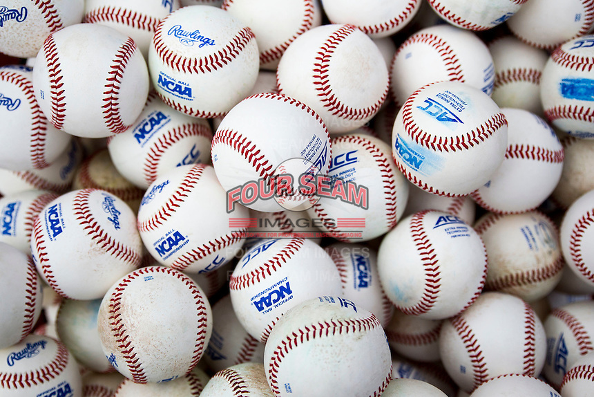 NCAA baseballs before Game 1 of the College World Series on June 13, 2015 at TD Ameritrade Park in Omaha, Nebraska. Virginia defeated Arkansas 5-3. (Andrew Woolley/Four Seam Images)