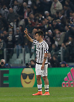 Calcio, andata degli ottavi di finale di Champions League: Juventus vs Bayern Monaco. Torino, Juventus Stadium, 23 febbraio 2016. <br /> Juventus&rsquo; Paulo Dybala celebrates after scoring during the Champions League first leg round of 16 football match between Juventus and Bayern at Turin's Juventus Stadium, 23 February 2016.<br /> UPDATE IMAGES PRESS/Isabella Bonotto
