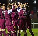 Arbroath's Jack Smith (9) is congratulated after he scores their second goal.