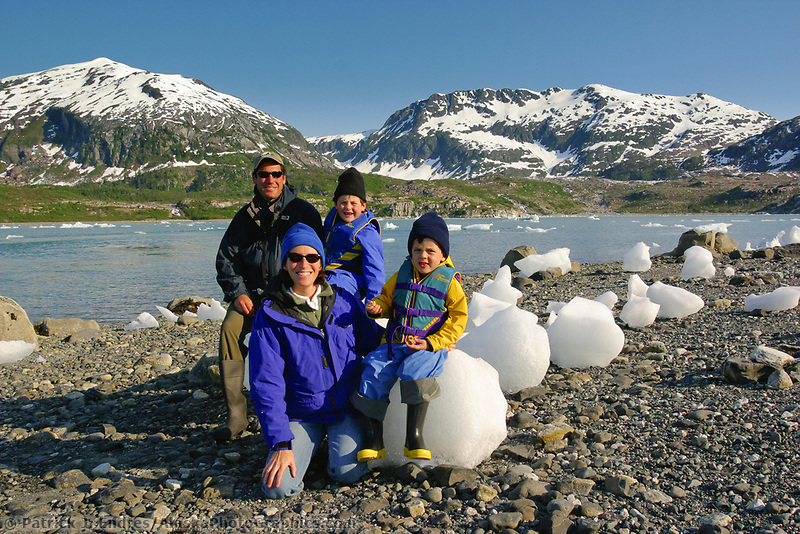 Tourist family in Nellie Juan Lagoon, Prince William Sound, Alaska.