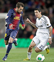 FC Barcelona's Jordi Alba (l) and Real Madrid's Angel Di Maria during Copa del Rey - King's Cup semifinal second match.February 26,2013. (ALTERPHOTOS/Acero) /NortePhoto