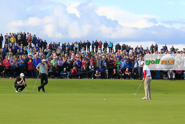 Brandan Grace (RSA) Keegan Bradley (USA) and Rory McIlroy (NIR) on the 18th during round 1 of the Irish Open at Royal Portrush GC,Portrush,County Antrim,Ireland. 28/6/12.Picture Fran Caffrey www.newsfile.ie