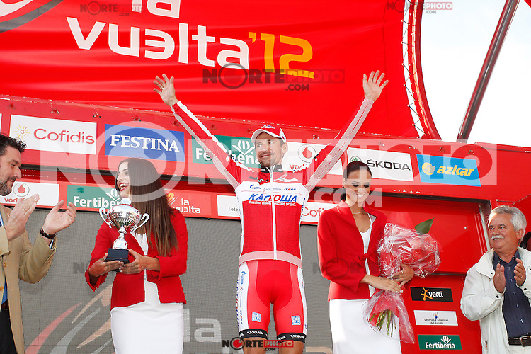 Denis Menchov celebrates the victory in the stage of La Vuelta 2012 beetwen La Faisanera Golf (Segovia)-La Bola del Mundo.September 8,2012. (ALTERPHOTOS/Paola Otero) /NortePhoto.com<br /> <br /> **CREDITO*OBLIGATORIO** *No*Venta*A*Terceros*<br /> *No*Sale*So*third* ***No*Se*Permite*Hacer Archivo***No*Sale*So*third