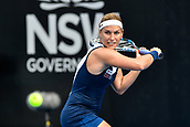 9th January 2018, Sydney Olympic Park Tennis Centre, Sydney, Australia; Sydney International Tennis, round 1; Dominika Cibulkova (SVK) prepares for a backhand in her match against Elena Vesnina (RUS)