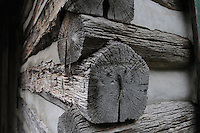 NWA Democrat-Gazette/FLIP PUTTHOFF <br /> Logs hewed by hand are the building blocks of 19th century cabins visitors can see near the Buffalo River at Ponca.
