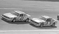 Morgan Shepherd(47) Bill Elliott (9) battle for the lead Motorcraft 500 at Atlanta International Raceway in Hampton, GA on March 16, 1986.   (Photo by Brian Cleary/www.bcpix.com)
