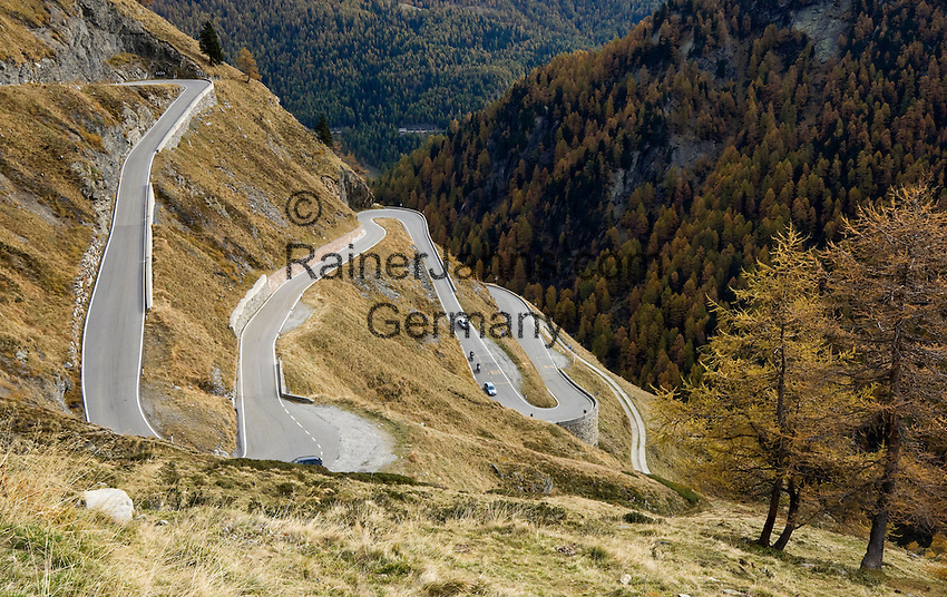 Italy, South Tyrol, Alto Adige, Val Passiria, autumn landscape at Natural Park Texel Group, with Timmelsjoch High Alpine Road, pass road