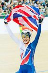 Elinor Barker of Great Britain celebrates winning in the Women's Points Race 25 km Final during the 2017 UCI Track Cycling World Championships on 16 April 2017, in Hong Kong Velodrome, Hong Kong, China. Photo by Marcio Rodrigo Machado / Power Sport Images