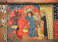 Gothic altar panel depicting St Michael weighing the souls at the Last Judgement. End of the 13th century, tempera on a spruce wooden panel  from  The Church of Sant Miguel de Soriguerola, Cerdanya, Huesca, Spain. Inv MNAC 43901. National Museum of Catalan Art (MNAC), Barcelona, Spain