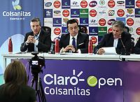 BOGOTA - COLOMBIA - 13 - 03 - 2018: Jahn Fontalvo (Izq.) de Gran Slam Producciones y Director General del Claro Colsanitas WTA 2018,Orlando Merlano (2 Izq.); Director del Instituto Distrital para la Recreación y el Deporte (IDRD); Frank Harb (Der.), Vicepresidente Comercial de Colsanitas, durante la presentación del Claro Colsanitas WTA 2018 de tenis, que se realizara en las canchas del Club Los Lagartos en la ciudad de Bogota del 7 al 15 de abril de 2018. / Jahn Fontalvo (L) of Gran Slam Productions and General Director of Claro Colsanitas WTA 2018, Orlando Merlano (2 L); Director of the District Institute for Recreation and Sports (IDRD); Frank Harb (R), Commercial Vice President of Colsanitas, during the presentation of the Claro Colsanitas WTA 2018 of Tennis Championships, to be held in the courts of the Club Los Lagartos in Bogota city, from 7 to April 15, 2018. Photo: VizzorImage / Luis Ramirez / Staff.