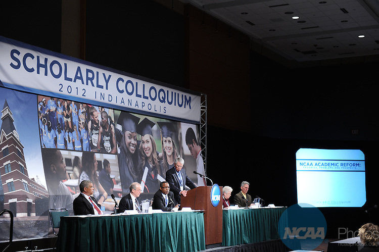 11 JAN 2012: The Scholarly Colloquium - Presidents, Chancellors and Athletics Directors Discuss Academic Reforms at the 2012 NCAA Convention held at the JW Marriott and Indianapolis Convention Center in Indianapolis, IN.  Stephen Nowland/NCAA Photos.