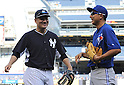 Masahiro Tanaka (Yankees), Munenori Kawasaki (Blue Jays),<br /> JUNE 18, 2014 - MLB : Japan's Munenori Kawasaki of the Toronto Blue Jays (R) and Japan's Masahiro Tanaka of the New York Yankees before the Major League Baseball game at Yankee Stadium in the Bronx, NY, USA.<br /> (Photo by AFLO)