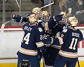 Luke Ripley (Notre Dame - 24), Andrew Peeke (Notre Dame - 22), Felix Holmberg (Notre Dame - 12), Cal Burke (Notre Dame - 11) - The Boston College Eagles defeated the University of Notre Dame Fighting Irish 6-4 (EN) on Saturday, January 28, 2017, at Kelley Rink in Conte Forum in Chestnut Hill, Massachusetts.The Boston College Eagles defeated the University of Notre Dame Fighting Irish 6-4 (EN) on Saturday, January 28, 2017, at Kelley Rink in Conte Forum in Chestnut Hill, Massachusetts.