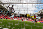 1:0 durch Robin Quaison (FSV Mainz 05 #07) Theodor Gebre Selassie (Werder Bremen #23) fliegt ins Tornetz<br /> <br /> <br /> Sport: nphgm001: Fussball: 1. Bundesliga: Saison 19/20: 33. Spieltag: 1. FSV Mainz 05 vs SV Werder Bremen 20.06.2020<br /> <br /> Foto: gumzmedia/nordphoto/POOL <br /> <br /> DFL regulations prohibit any use of photographs as image sequences and/or quasi-video.<br /> EDITORIAL USE ONLY<br /> National and international News-Agencies OUT.