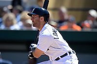 Detroit Tigers second baseman Steve Lombardozzi (4) during a spring training game against the Miami Marlins on March 13, 2014 at Joker Marchant Stadium in Lakeland, Florida.  Miami defeated Detroit 4-2.  (Mike Janes/Four Seam Images)