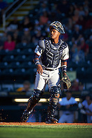 Fort Myers Miracle catcher Brian Navarreto (23) during a game against the Bradenton Marauders on April 9, 2016 at McKechnie Field in Bradenton, Florida.  Fort Myers defeated Bradenton 5-1.  (Mike Janes/Four Seam Images)