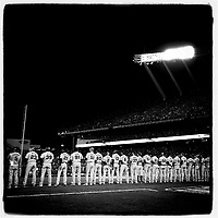 KANSAS CITY, MO - OCTOBER 21: Instagram of the San Francisco Giants lined up during ceremonies before Game 1 of the World Series against the Kansas City Royals at Kauffman Stadium on October 21, 2014 in Kansas City, Missouri. Photo by Brad Mangin