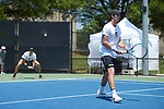 Ian Dempster (right) and Christian Seraphim of the Wake Forest Demon Deacons teamed up at #3 doubles against the South Carolina Gamecocks during Round Two of the 2018 NCAA Men's Tennis Championship at the Wake Forest Tennis Center on May 13, 2018 in Winston-Salem, North Carolina.  The Demon Deacons defeated the Gamecocks 4-1.  (Brian Westerholt/Sports On Film)