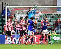 Lincoln City's Josh Vickers punches the ball clear<br /> <br /> Photographer Chris Vaughan/CameraSport<br /> <br /> The EFL Sky Bet League Two - Lincoln City v Crewe Alexandra - Saturday 6th October 2018 - Sincil Bank - Lincoln<br /> <br /> World Copyright &copy; 2018 CameraSport. All rights reserved. 43 Linden Ave. Countesthorpe. Leicester. England. LE8 5PG - Tel: +44 (0) 116 277 4147 - admin@camerasport.com - www.camerasport.com