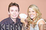 Sharon O'Keeffe holds all the aces on Ken Doherty at the Texas Hold-em competition in the Star bar Rathmore on Saturday in aid of Sharon's humaritarian trip to Moldova   .   Copyright Kerry's Eye 2008