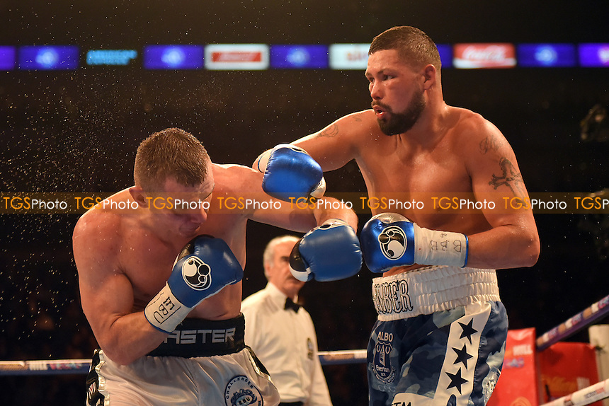 Tony Bellew (white/blue shorts) fights Mateusz Masternak for the vacant EBU Cruiserweight Title at the O2 Arena, London