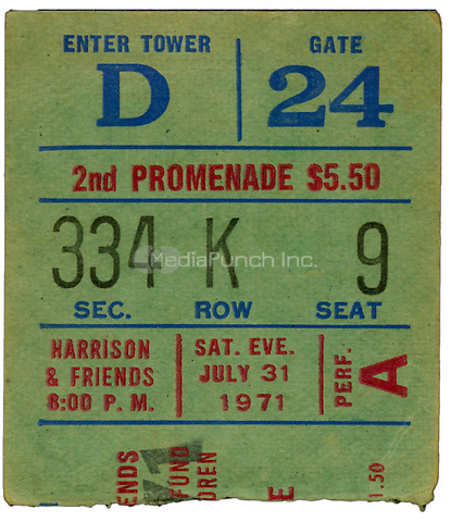 Ticket Stub of George Harrison and Friends performing at Madison Square Garden in New York City on July 31st, 1971. Credit: Arturo Santos/MediaPunch