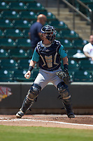 Lynchburg Hillcats catcher Gavin Collins (9) on defense against the Winston-Salem Rayados at BB&T Ballpark on June 23, 2019 in Winston-Salem, North Carolina. The Hillcats defeated the Rayados 12-9 in 11 innings. (Brian Westerholt/Four Seam Images)