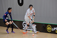 China's Ming Gong in action during the World Floorball Championships 2017 Qualification for Asia Oceania Region - Malaysia v China at ASB Sports Centre , Wellington, New Zealand on Sunday 5 February 2017.<br /> Photo by Masanori Udagawa<br /> www.photowellington.photoshelter.com.