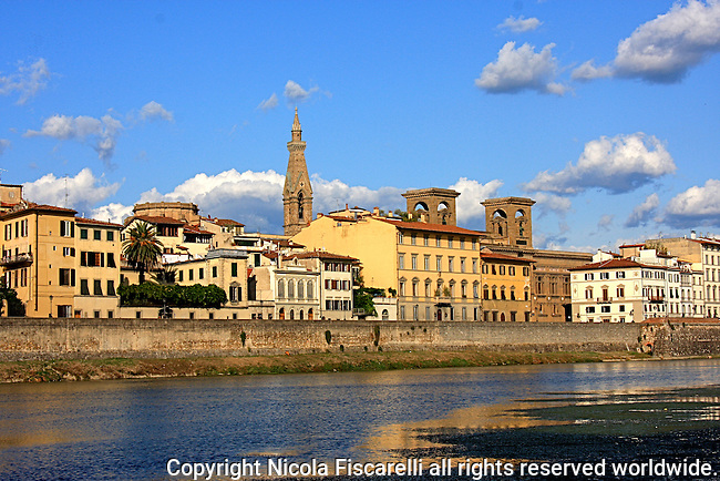 "The  beautiful  view of the city from the Florentine  riverbank Arno on to  the""Santa Croce ""church tower."