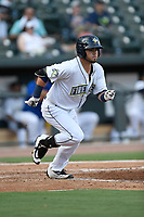 Right fielder Arnaldo Berrios (3) of the Columbia Fireflies bats in game one of a doubleheader against the Rome Braves on Saturday, August 19, 2017, at Spirit Communications Park in Columbia, South Carolina. Rome won, 8-2. (Tom Priddy/Four Seam Images)