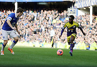 Pictured: Nathan Dyer of Swansea (R) against Seamus Coleman of Everton (L). Sunday 16 February 2014<br /> Re: FA Cup, Everton v Swansea City FC at Goodison Park, Liverpool, UK.