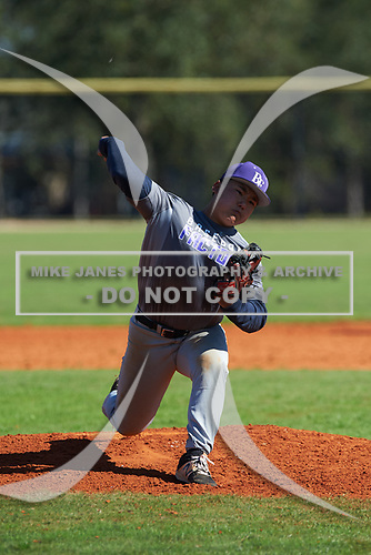 Ethan Chea (8) Tomball, Texas during the Baseball Factory All-America Pre-Season Rookie Tournament, powered by Under Armour, on January 14, 2018 at Lake Myrtle Sports Complex in Auburndale, Florida.  (Michael Johnson/Four Seam Images)