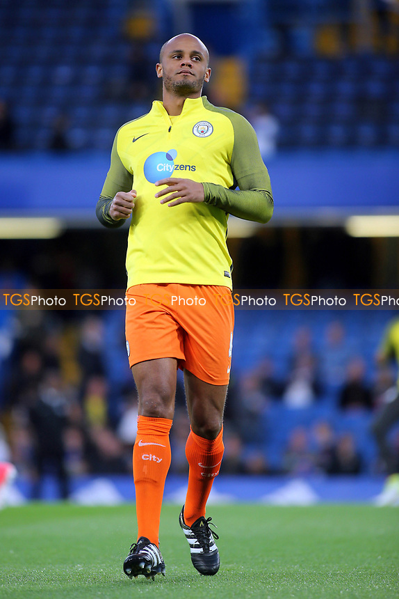 Manchester City's Vincent Kompany warms up pre-match during Chelsea vs Manchester City, Premier League Football at Stamford Bridge on 5th April 2017