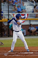 Burlington Royals infielder Brhet Bewley (15) at bat during a game against the Greeneville Reds at the Burlington Athletic Complex on July 7, 2018 in Burlington, North Carolina. Burlington defeated Greeneville 2-1. (Robert Gurganus/Four Seam Images)